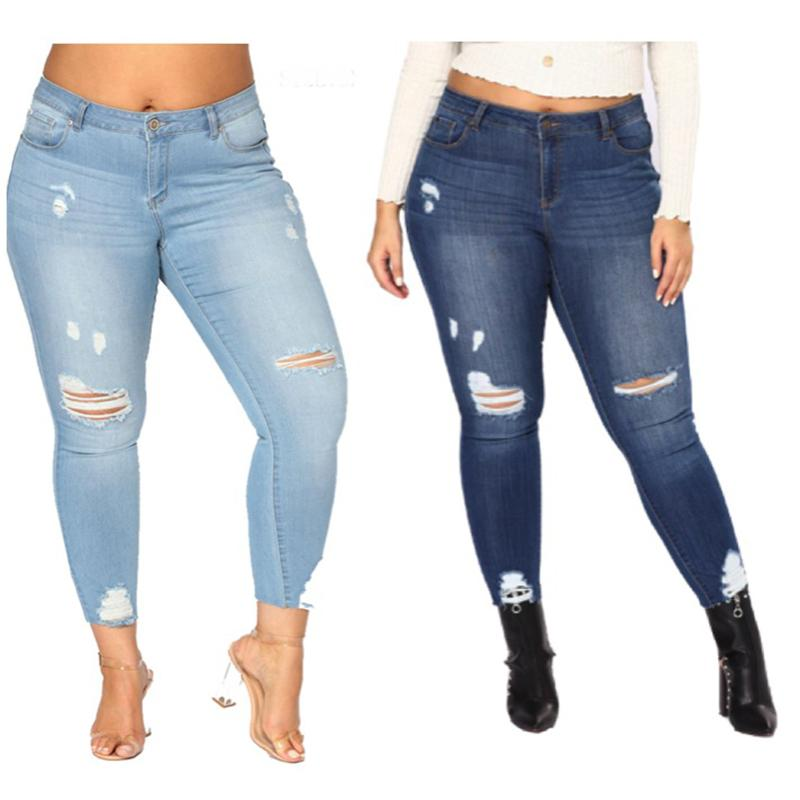 5b42168404626 PLUS SIZE Jeans Women High Waist Skinny Pencil Blue Denim Pants ...