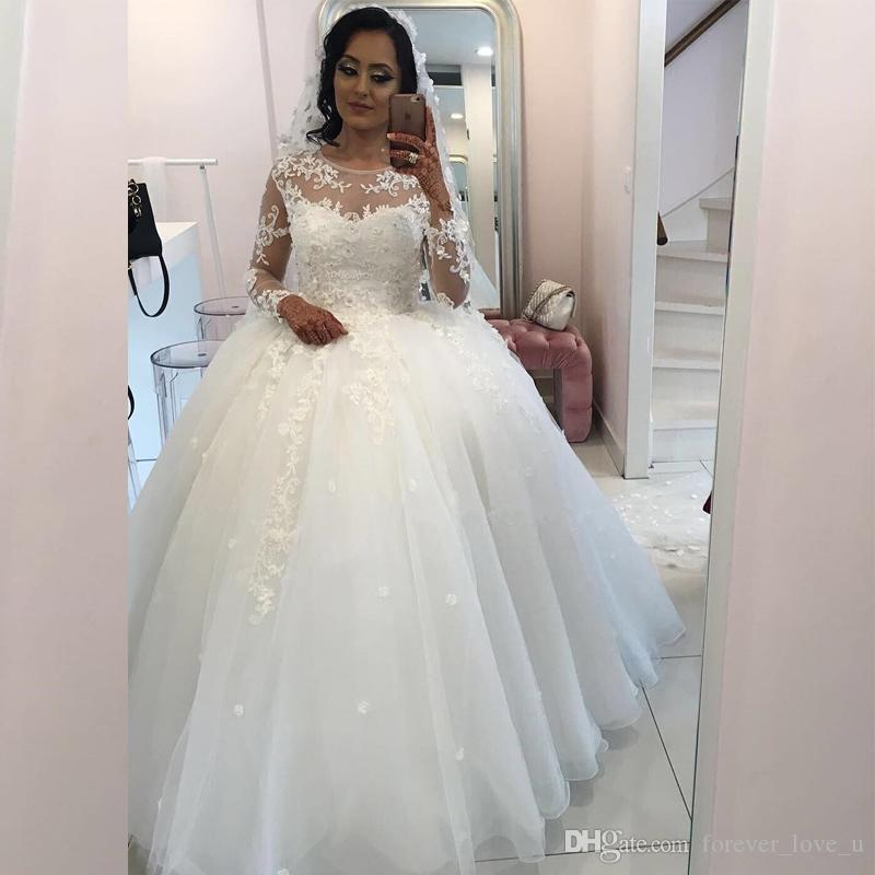b2b316dce871 2018 Charming Lace Ball Gown Wedding Dress Sheer Jewel Neck Illusion Long  Sleeves Beaded Lace Appliques Puffy Tulle Bridal Gowns Wedding Dress Outlet  ...