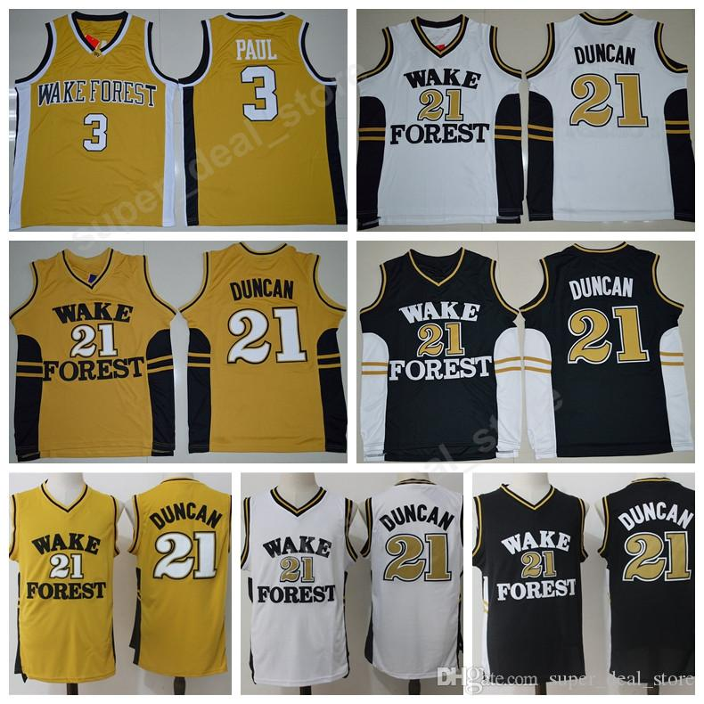 Cheap Wake Forest Demon Deacons 21 Tim Duncan College Jerseys Basketball  Black White Yellow 3 Chris Paul Jersey Men Sale All Stitched Good Quality 02d6580d7