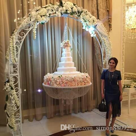 Support De Gâteau De Mariage Suspendu De Luxe Suspendu Support De Perles Acryliques Transparentes Décoration De La Table Principale Acrylique Taille