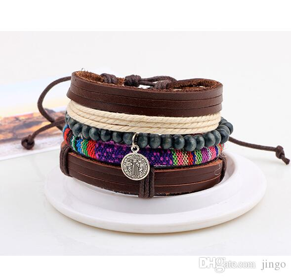 DHL mens leather Bead bracelets vintage fashion braid Pendant Pulseira Masculina Jewelry Charm Bileklik Pulseiras gift