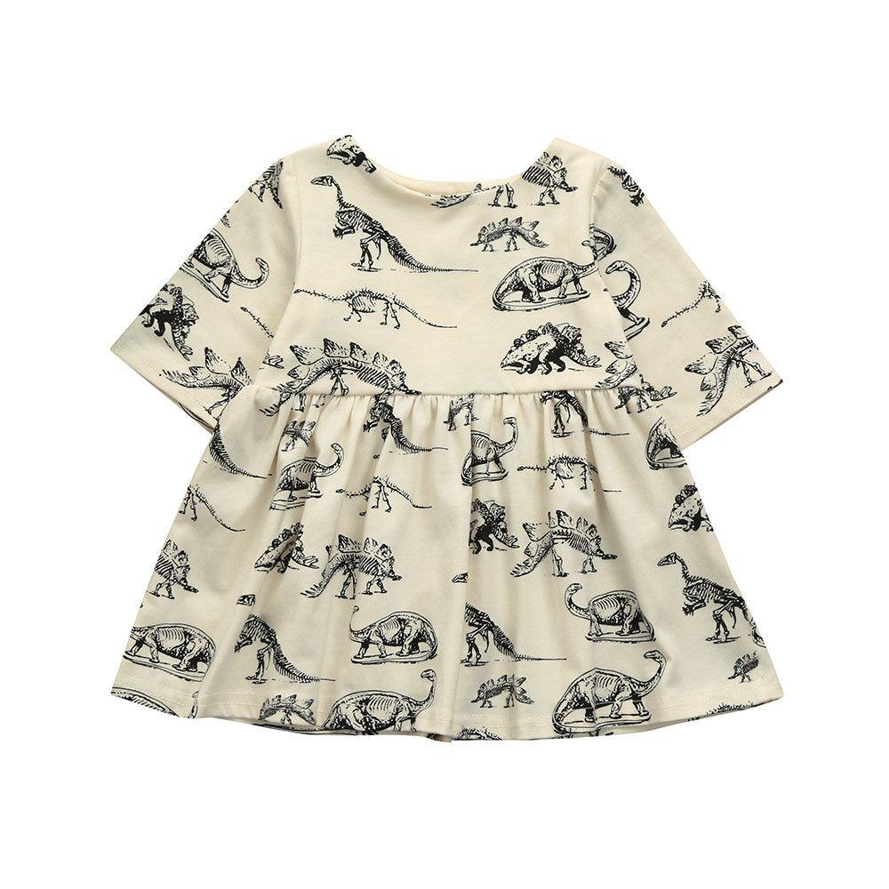 eccdb1270 Compre Telotuny Bebés Meninas Vestir Dinossauro Dos Desenhos Animados  Impressão Vestidos Bonitos C0419 De Sophine13
