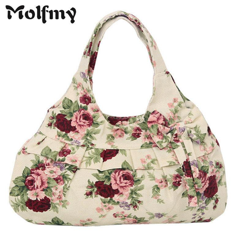 Bow Canvas Women Handbags Floral Printing Women Causual Tote Bags Bolsas  All Match Portable Vintage Shoulder Hobo Shopping Bags Duffle Bags  Messenger Bags ... fabd5040e76ec