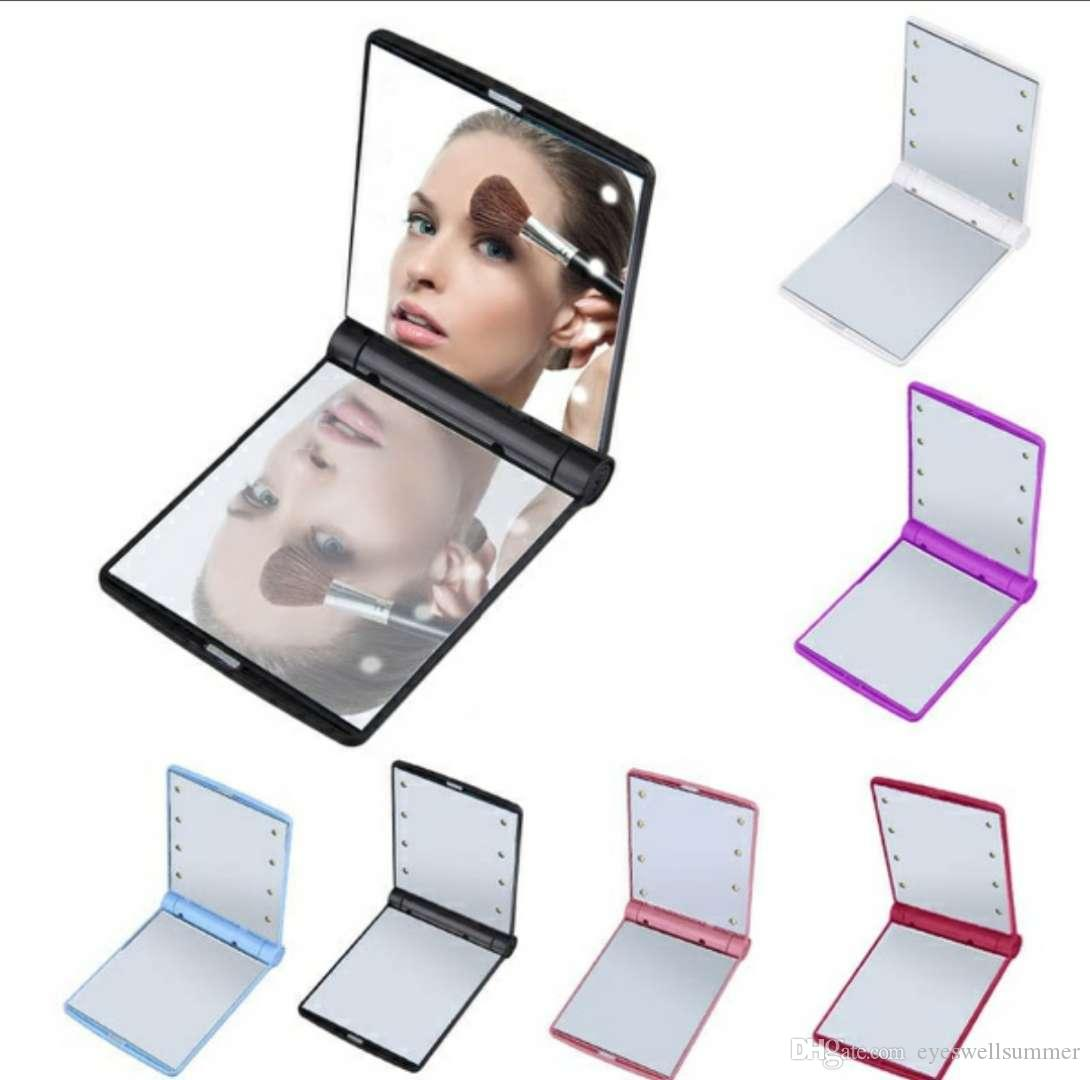 Mirrors Beauty & Health Symbol Of The Brand Woman Portable Compact Led Makeup Mirror Cosmetic Mirrors Foldable Hand Pocket Mirror With 8 Led Lights Lamps Purple Makeup Tool