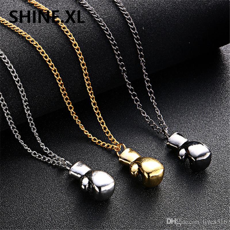 الذهب / الفضة اللون سحر قلادة الرياضة الملاكمة مجوهرات الشرير نمط الملاكمة سلسلة ذهبية للرجال والنساء