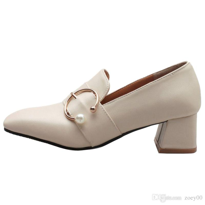 Smilice 2018 Woman Casual Pumps with Chunky Heel and Square Toe Elegant Working Chic Shoes with Large Size Available A235