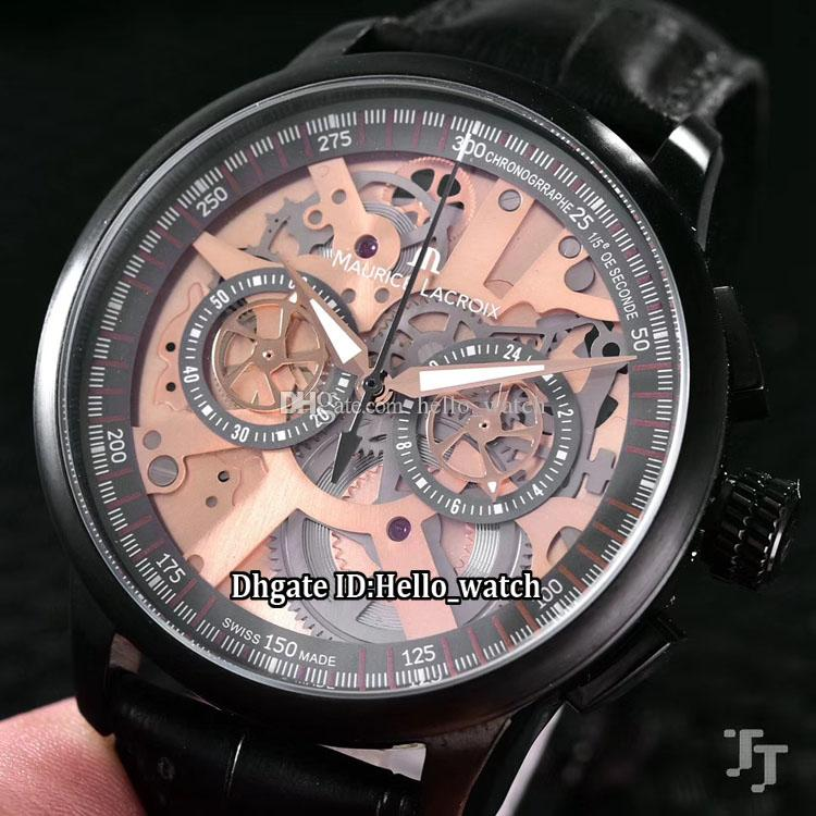 9f04ec3d372c Brand 45mm Maurice Lacroix Masterpiece MP7128 SS001 500 1 Skeleton Dial  Miyota Quartz Chronograph Mens Watch PVD Black Leather Strap Watches Buy  Watch Watch ...