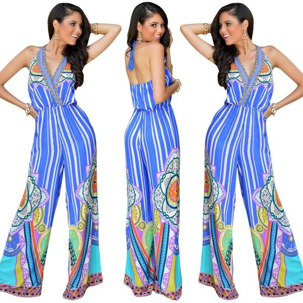 8b70d878ea86 Women Sexy Floral Wide Leg Jumpsuits Blue Striped Printed Venetian ...
