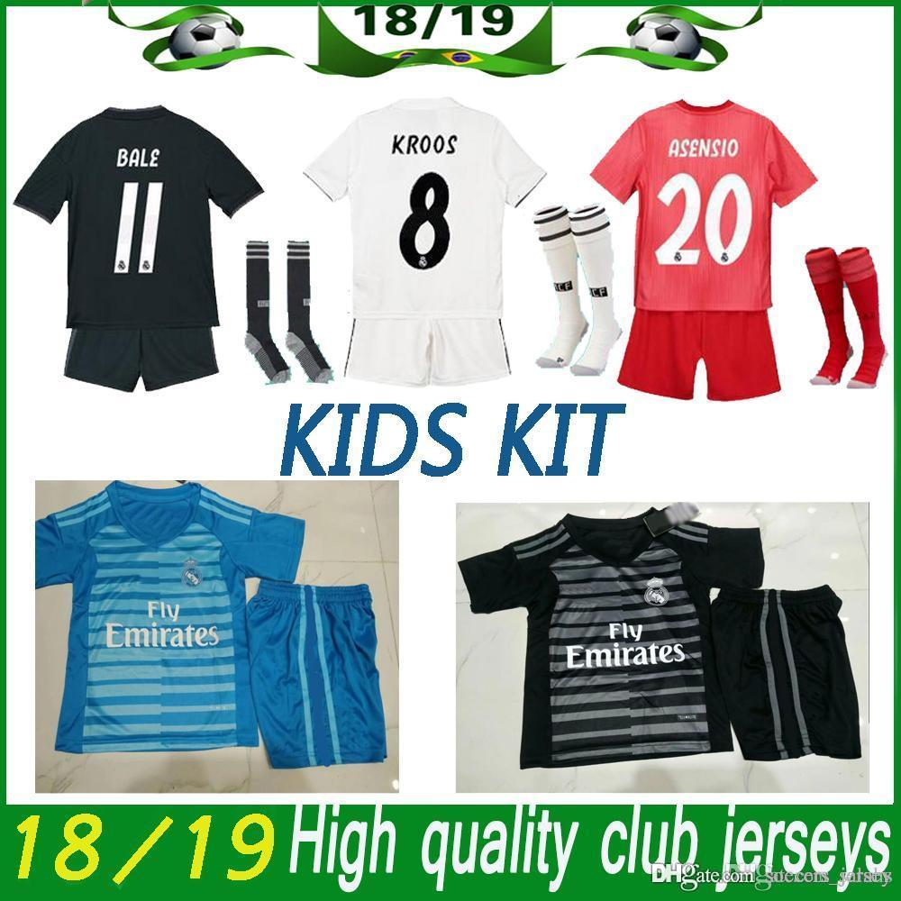 69524a393 2019 Real Madrid Football Jersey 2018 19 Home White Away Kids Kit Soccer  Jerseys ISCO ASENSIO BALE KROOS Child 3rd Red Soccer Shirts + Pants+Sock  From ...
