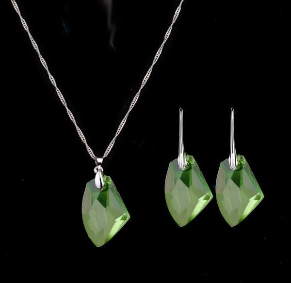 S005 Fashion jewelry Simple fashion ax shape crystal necklace pendant wish stone earrings necklace jewelry sets