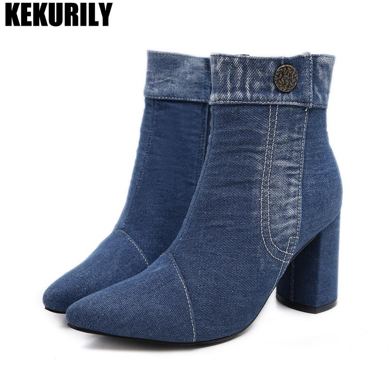 bf604983255 Women Shoes Denim High Heels Martin Boots Zipper Pointed Toe Rivet Ankle  Boots Plush Ladies Winter Booties Zapatos De Mujer Blue Brown Boots Winter  Boots ...