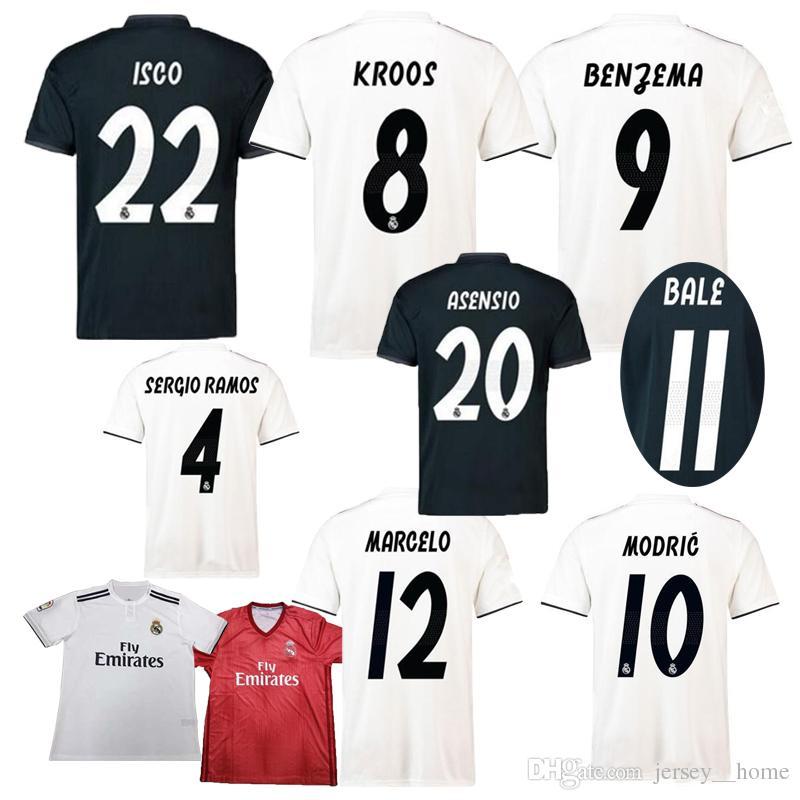 Compre 2018 Real Madrid Em Casa Longe Jersey 2019 ASENSIO Camisa De Futebol  MODRIC LUCAS V MORATA BALE KROOS ISCO BENZEMA Camisas De Futebol Camisa  Nova ... 6ffec380037e2