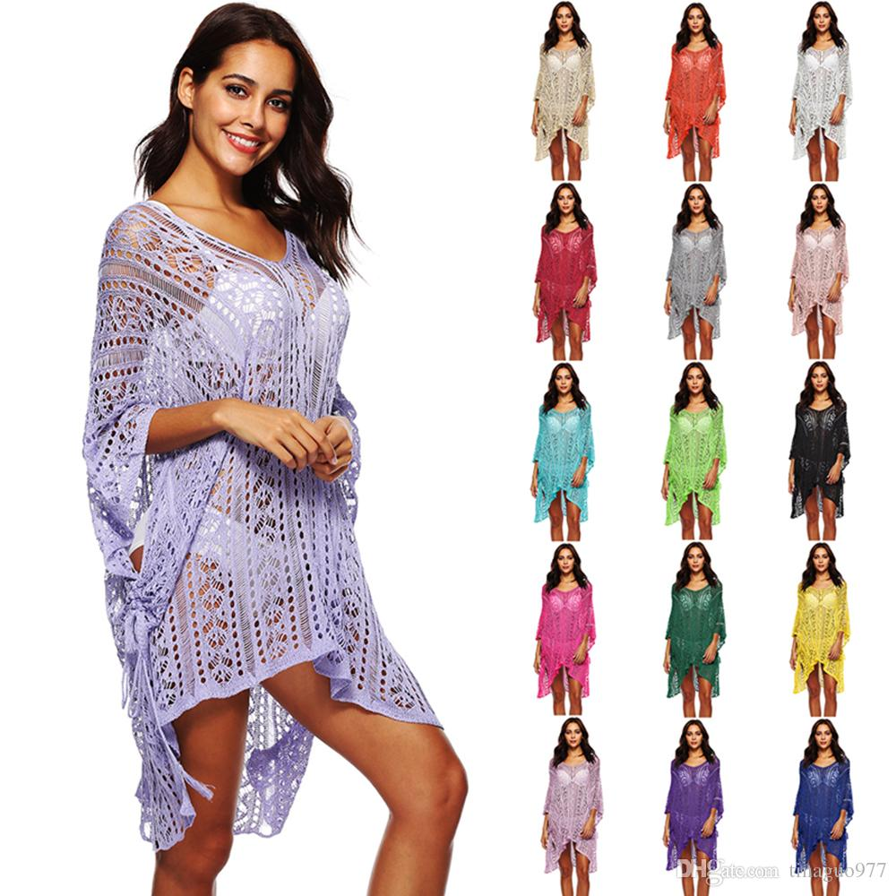3557ca8525 Beach Swimsuit Cover Ups For Women V Neck Loose Fit Hi Low Bikini Crochet Beach  Dress Swimsuit Cover Ups Women Beach Cover Ups Beach Dress Online with ...