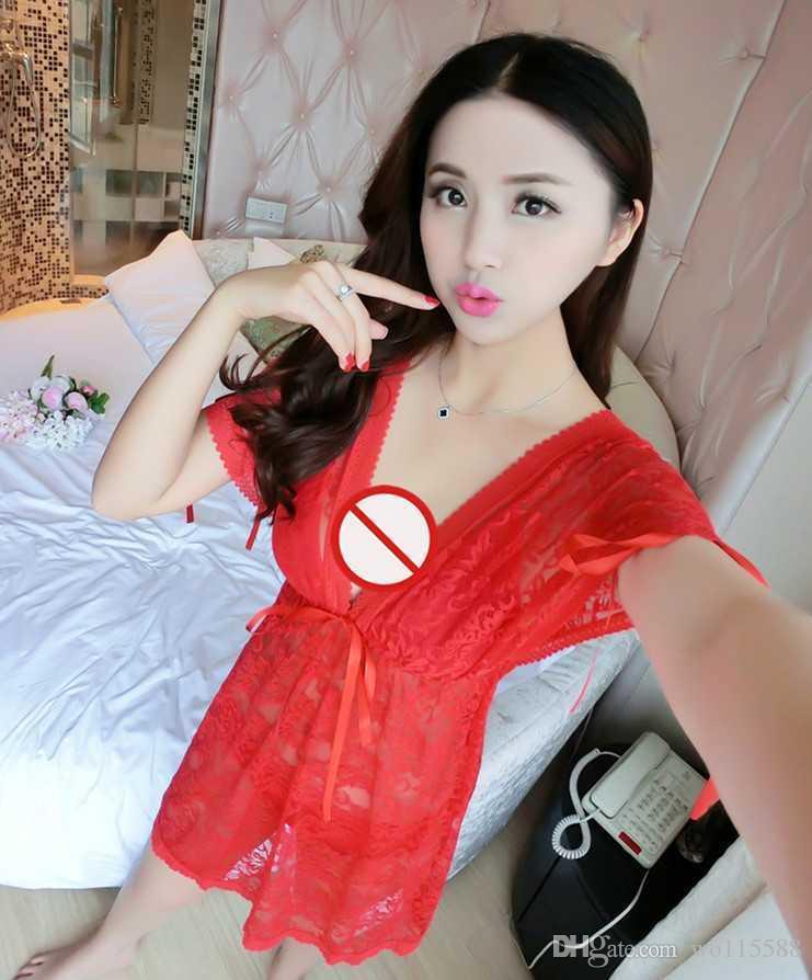Spedizione gratuita Nuova biancheria sexy cosplay Trasparente pigiama Sexy gonna corta Set Ms. Prospettiva Tre Tentazioni Uniformi Sexy lingerie Paj