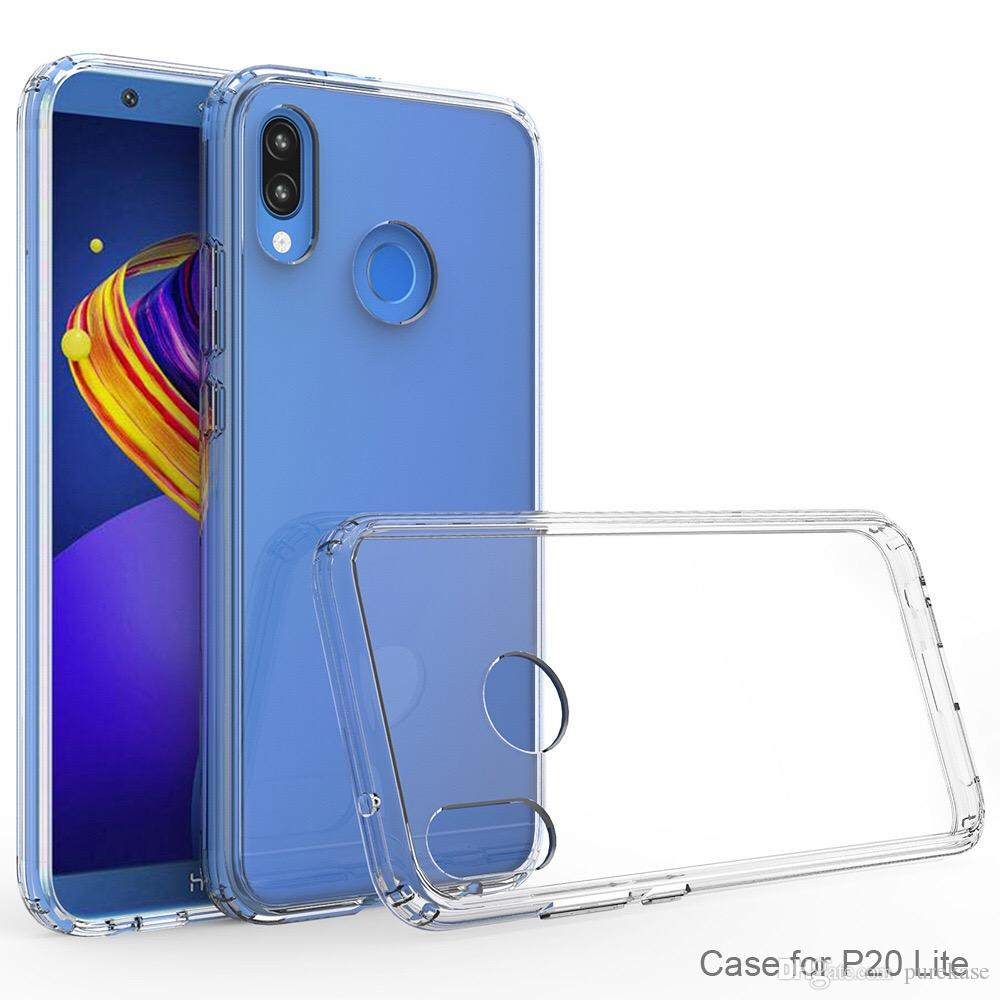 Pure Kase For Huawei P20 Lite Case Transparent Back Cover PC+TPU Hard Soft Case Drop-proof Case