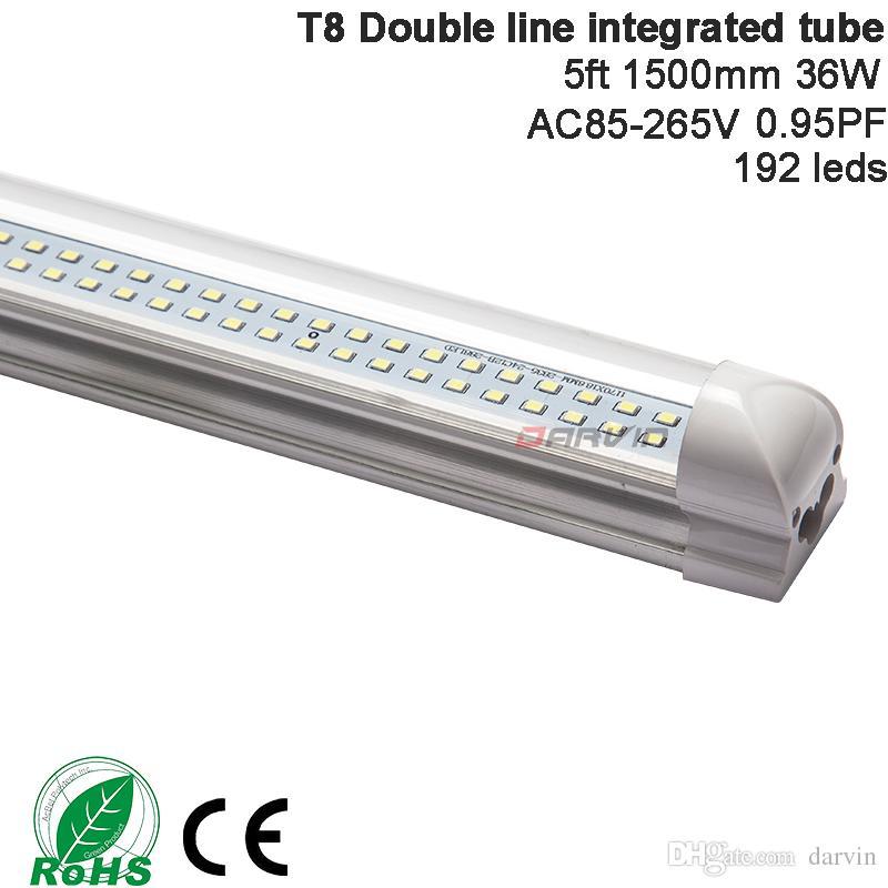 Grosshandel T8 Led Tube Doppelte Linien 5ft 1500mm 36 Watt Led