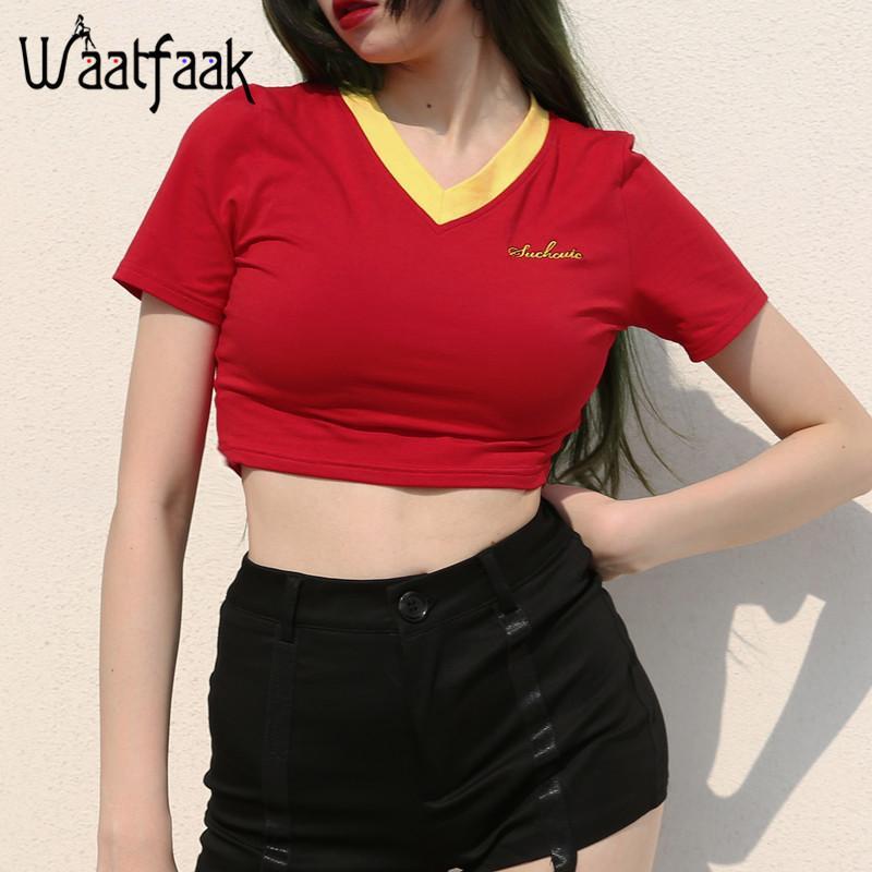 d6a927a804a Waatfaak V Neck Tshirt Women Red Short Sleeve Crop Top Embroidery Kwaii  Casual Funny Basic Bodycon Summer Shirts Tee High Waist Funky T Shirt  Designs T ...