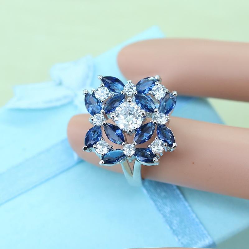 Bijoux en pierre de cristal bleu exquis pour les femmes blanc zircon couleur argent strass bagues / boucles d'oreilles / collier avec 925