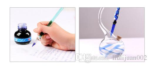 Geometric pattern Crystal Glass Dip Fountain Pens Bussiness Offices School Stationery Writing Supplies Glass Pen Signature Pen