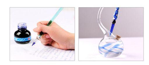 Geometrische Muster Kristallglas Dip Füllfederhalter Geschäftsräume Schule Schreibwaren Schreibwaren Glas Stift Unterschrift Stift