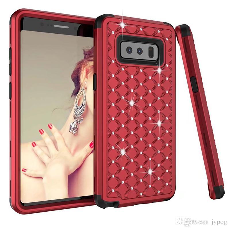 la cassa protettiva morbida gomma di silicone antiurto dura del PC caso ibrido di Samsung Note8 3in1 Defender Caso strass Heavy Duty i