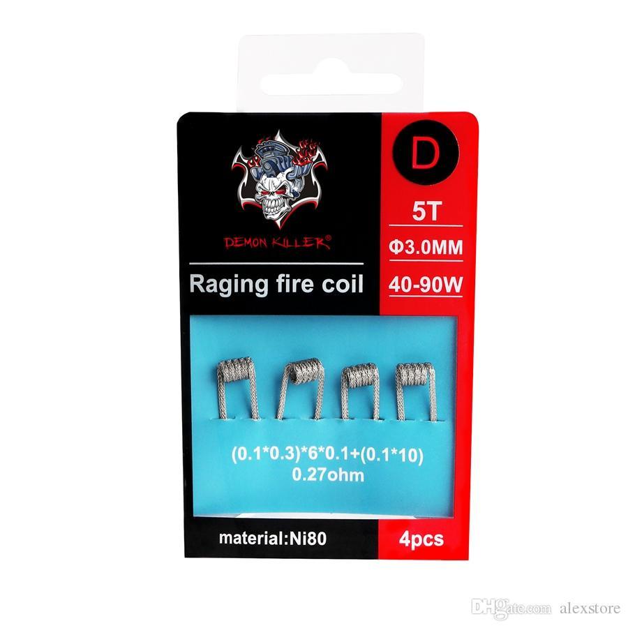 Authentic Demon Killer Raging Fire Coil NI80 Prebuilt Nichrome 80 Wire Pre-built Coils Premade Wrap Heating Wires for Vape RDA RTA RDTA DHL