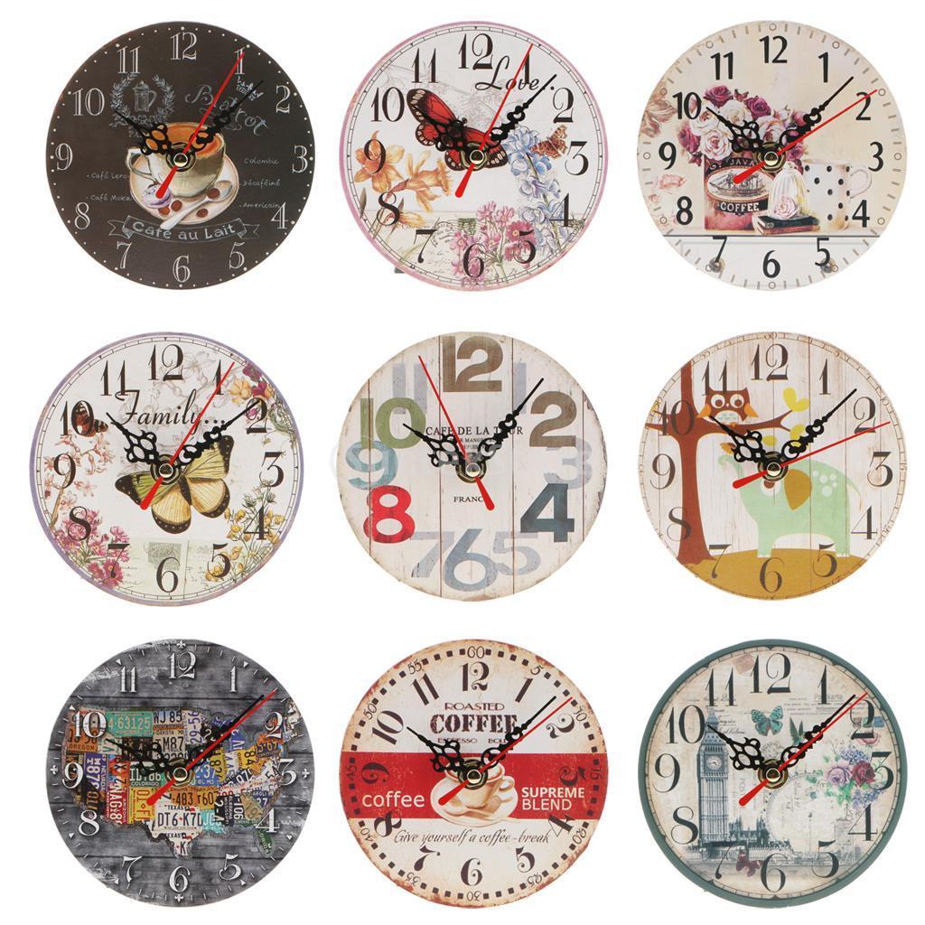 df11e5d5fef Compre Relógio De Parede De Madeira Do Vintage Rodada Relógio Retro Antigo  Decoração Da Cozinha De Casa De Herbertw
