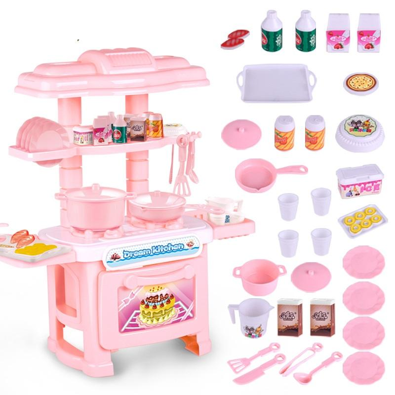EFHH Plastic Simulation Tableware Kitchen Girl Toy Blue/Pink Pretend Play  Educational Toy Kitchen Set Drop Shipping
