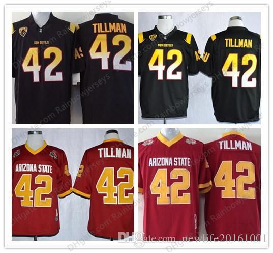 more photos 4a8cd 3b923 Arizona State Sun Devils #42 Pat Tillman College Football Jerseys NCAA ASU  Tillman Black Red Maroon 1997 Rose Bowl Vintage S-3XL