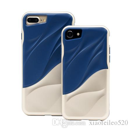 For Apple Iphone 7 Plus/8 PLUS 2 in 1 Luxury 3D Water Ripple Ultra Slim Silicone TPU + PC Hybrid Funda Shockproof Durable Phone Case