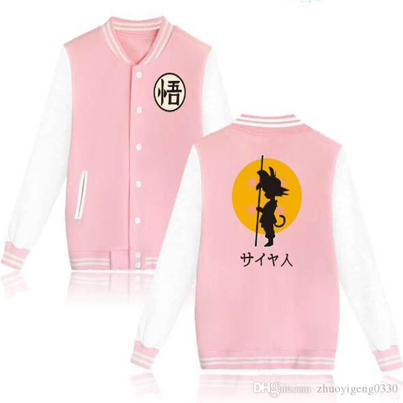 Anime Dragon Ball Z Baseball Uniform Jacket Coat Hombres Mujeres Goku Harajuku Sudaderas Invierno Fashion Hip Hop Pink Hoodie Outwear