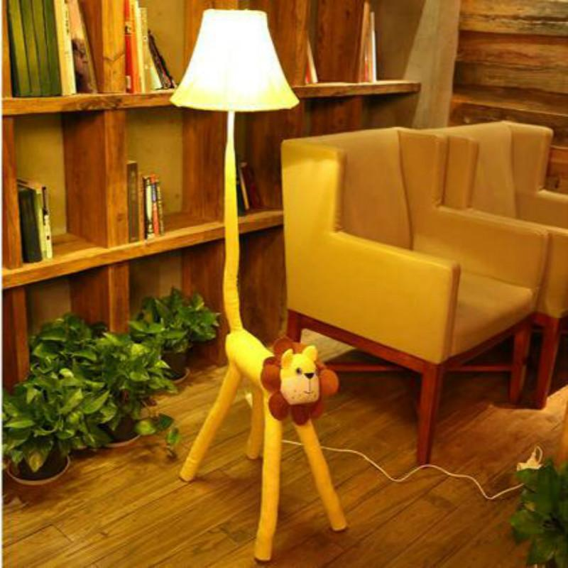 2019 Cartoon Lovely Cloth Lion E27 Dimmer Floor Lamp With Remote