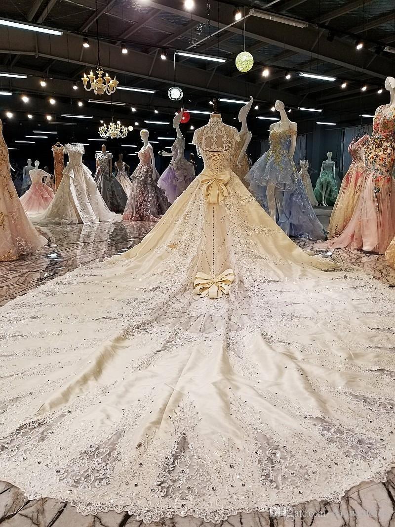 Luxury Beige Strapless Long Train Applique Beads Ball Gown Wedding Dresses Bridal Dresses Events Dresses Custom Size 6 8 10 12 W307151