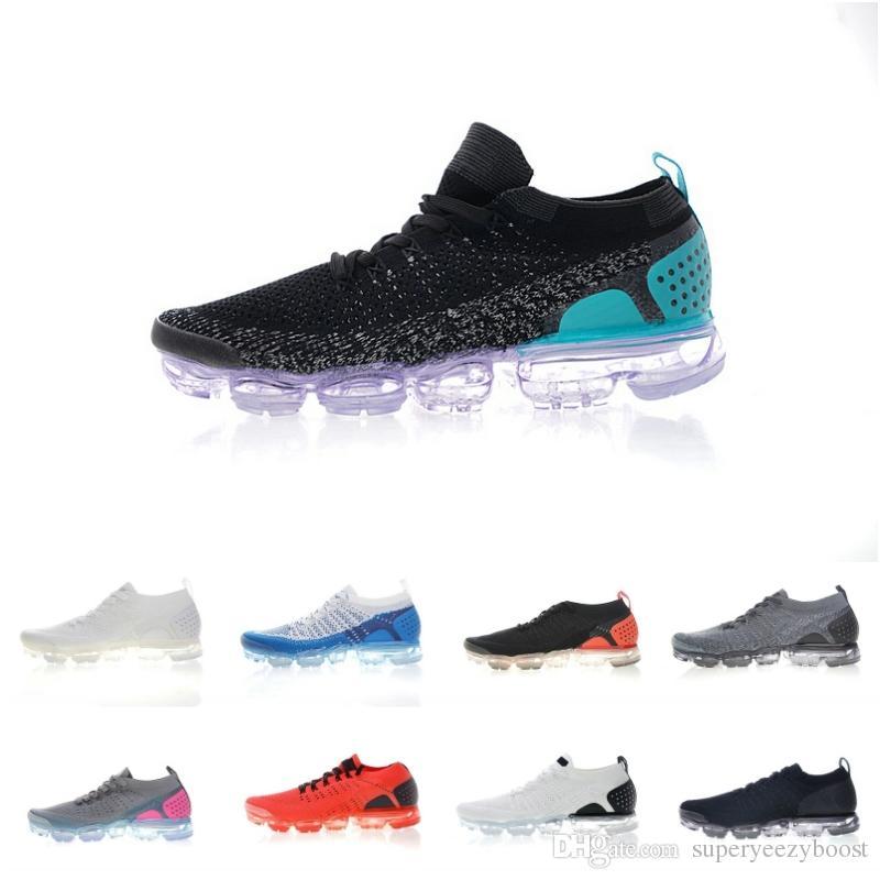 watch a5db5 0ff3a Compre Nike Vapormax Flyknit Zapatos De Running De Calidad Superior 2019 2  TPU Negro Rojo Azul Gris Corredores De Moda Zapatillas De Deporte Para  Hombres ...