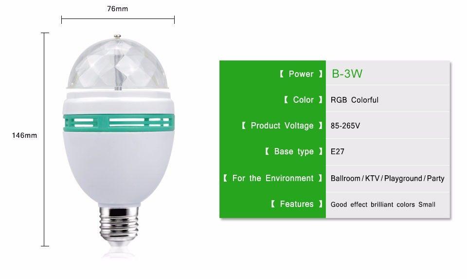 풀 컬러 85-265V 110V 220V 3W RGB E27 LED 램프 LED 전구 RGB 주도 자동 회전 무대는 홈 DJ 파티 매직 볼 전구 조명
