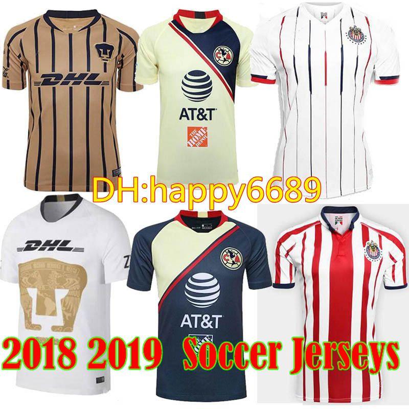 2018 Mexico CLub LIGA MX UNAM Home White Away Gold Soccer Jersey ... 57fc943a8
