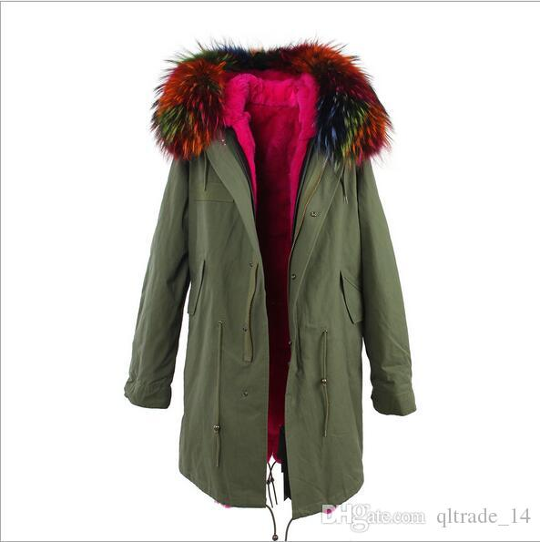 Jazzevar brand women snow jackets Rose raccoon fur trim rose rabbit fur lining army green long parkas Australia new Zealand