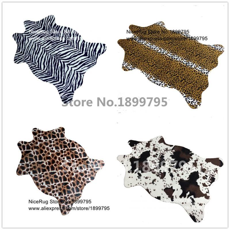 f2a3ad1f7d4f9 Compre Zebra Vaca Leopardo Girafa Tigre Impresso Tapete De Couro Da Pele Do  Falso Couro NonSlip Antiderrapante Mat 110X75 CM Animal Print Tapete Para  Casa ...