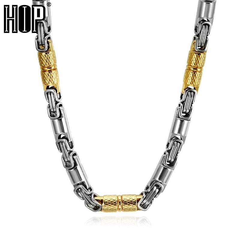 HIP Hop Two Tone Gold Color Titanium Stainless Steel 55CM 6MM Heavy Link Byzantine Chains Necklaces for Men Jewelry