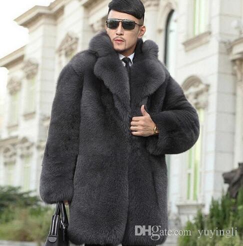 2557280b8a9 2019 High Quality Winter Thicken Warm Faux Fur Coats Mens Luxury Fur  Overcoat Slim Men Casual Jaqueta De Couro Grey European S 6XL From  Yuyingli