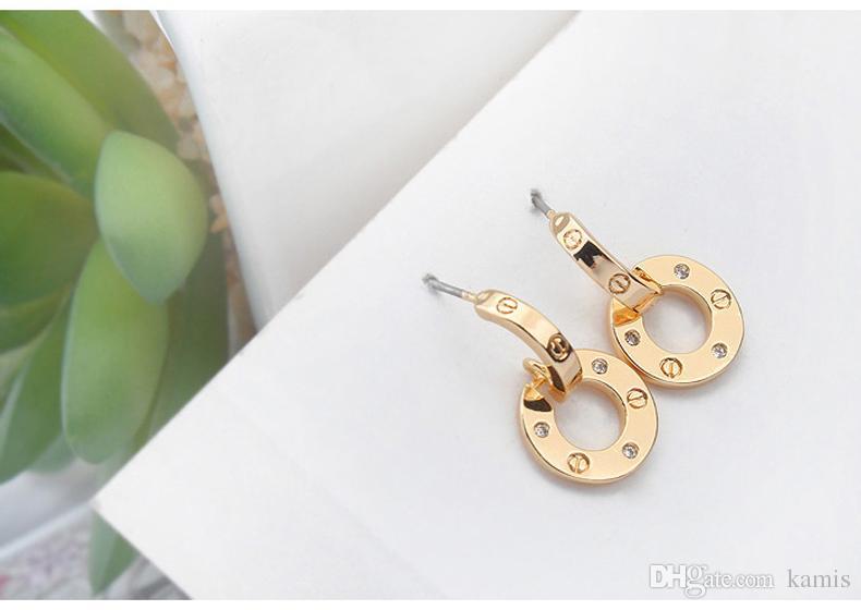 3 couleurs célèbres marques bijoux rose boucles d'oreilles de marque plaqué de couleur or pour les femmes luxe meilleur cadeau de Noël pour les dames