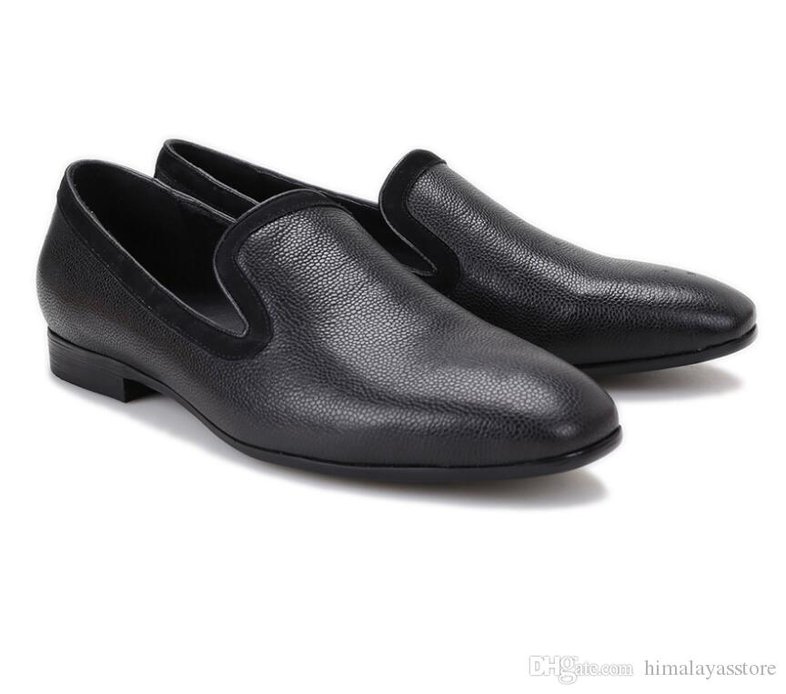 Nouvel arrivage hommes chaussures noir en cuir véritable parti et les hommes robe de mariée chaussures de luxe hommes faits à la main des mocassins de pavillons de mâles pour