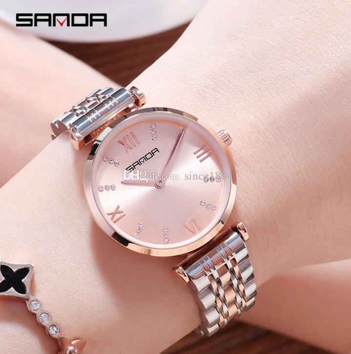 Compre Sanda 2018 Reloj De Mujer De Moda Tendencia De Las Mujeres De Moda  Cinturón De Acero Atmosférico Rhinestone Reloj De Las Señoras A  18.99 Del  ... b67421e3bee3