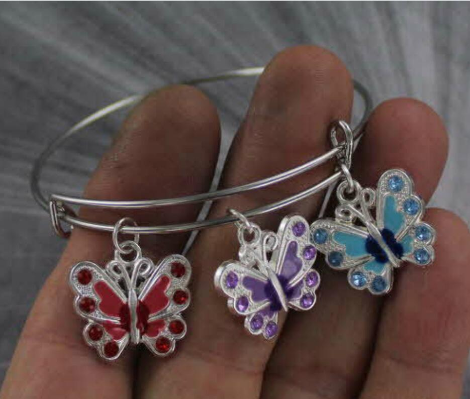 New Products Multicolor Wholesale Jewelry Butterfly Charm Bangle Bracelet Stainless Steel Adjustable Wire Wrapped Ladies Holiday Gift 10PCS