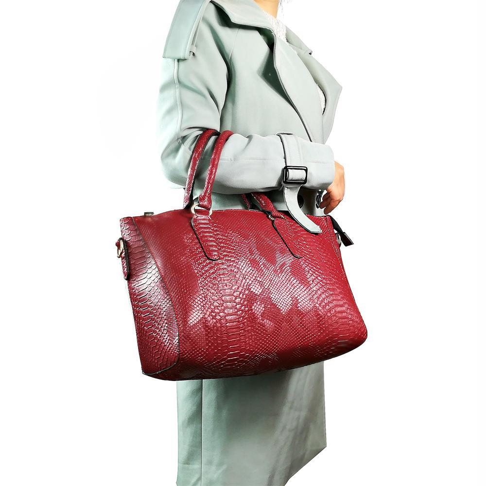 Women Snake PU Leather Handbag Casual Large Top Handle Tote Bag for Ladies Brand Designer Crossbody Bag Serpentine Shoulder Bag