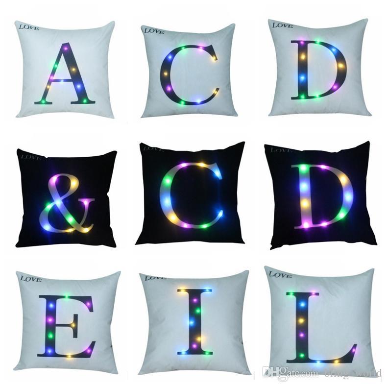 Alphabet Pillow Case LED Decorative Pillow Covers Letter Throw