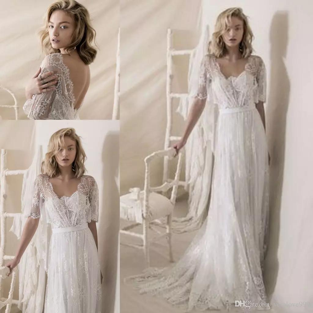 Wedding Gown Wraps: Discount 1950s' Lace Wedding Dresses 2018 Lihi Hod Lace