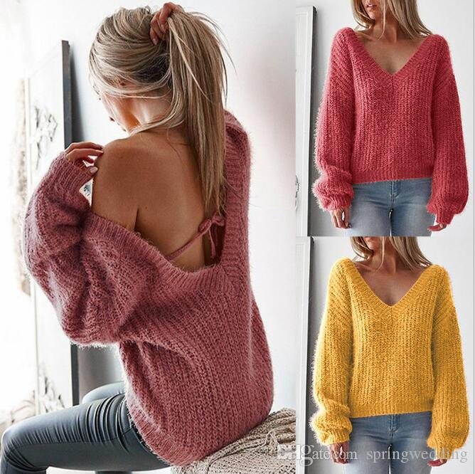 9d14ee8a230c 2019 Sexy Lace Up Back V Neck Knitted Sweaters 2018 New Long Sleeve Autumn  Winter Pullovers Loose Casual Sweater Pull Femme FS5131 From Springwedding