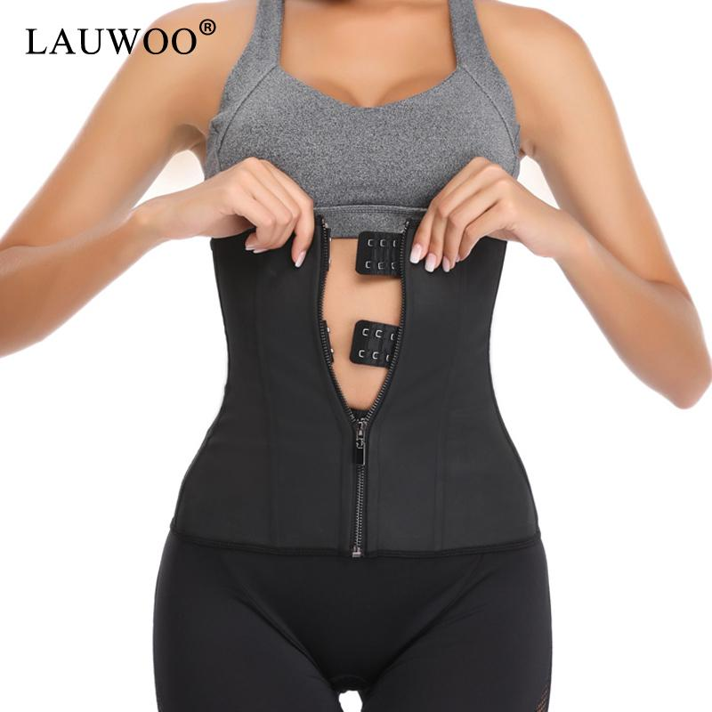 be2bdd4b7ca 2019 LAUWOO Latex Waist Trainer Body Shaper Women Corsets With Zipper Hot  Shapers Cincher Corset Top Slimming Belt Black Plus Size From Yanmai