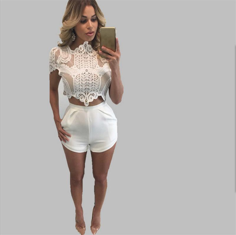 742b31f1ee New Arrival 2018 Summer Crochet Lace Crop Top EleShort Sleeve Hollow ...